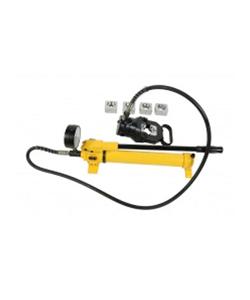 Cabeçote c/mangueira e bomba hidráulica para prensar terminais e emendas tubulares HTP-630